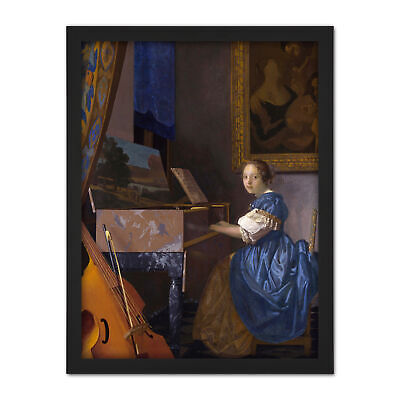 Johannes Vermeer Young Woman Seated At Virginal Painting Framed Art Print 18X24