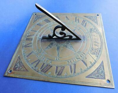 Superb Antique Brass Garden Sundial Dated 1705 with Latin Inscription