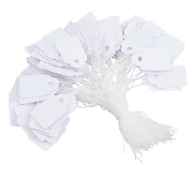 WHITE TIE ON LABELS String STRUNG GIFT JEWELLERY PRICE TAGS Very Small 13mm 21mm