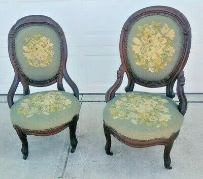 Antique Vintage Victorian Style Needlepoint Gentlemen's Lady's Palor Chairs