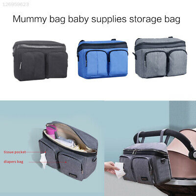 FEBD Grey Newborns Diaper Bag Travel Hanging Carriage Mother Kids Useful