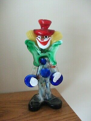 "Vintage Murano Clown 8.5"" tall Figure Figurine  Venetian Italian Art Glass Italy"