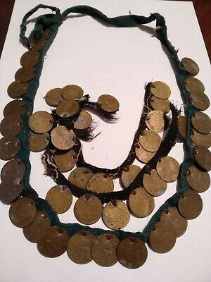 Antique antique old necklace with gold-plated copper coins