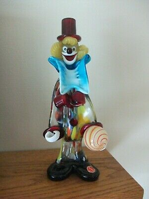 "Vintage Murano Clown 10.5"" tall Figure Figurine Venetian Italian Art Glass Italy"