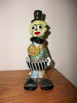 "Vintage Murano Clown 6.75"" tall Figure Figurine Venetian Italian Art Glass Italy"