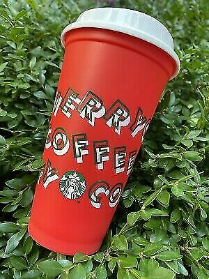 Starbucks 2019 Red Reusable Hot Cup Grande 16 oz Plastic Merry Coffee Holiday