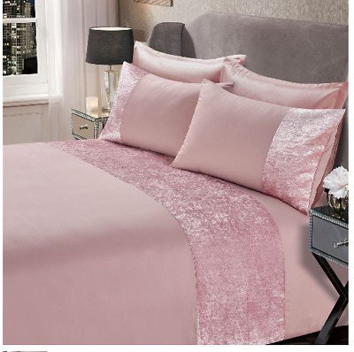 Sienna Crushed Velvet Band Duvet Set - Blush Pink  Curtains sold separately.NEW
