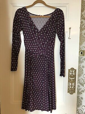 Burgundy/plum Nursing Breastfeeding Maternity Tea Dress Wrap Size 10