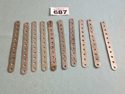 5 Vintage Meccano 10 Perforated Strips; 2 1//2 in.