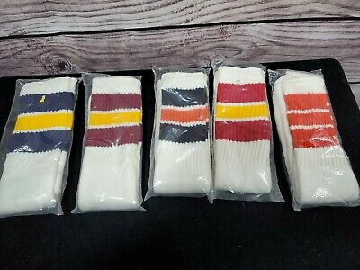 Vintage Dead Stock 70s Tube Socks 5 pair 6-10 Big Stripes Made in USA NELSON