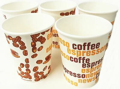 50 Printed Paper Coffee Cups Hot Tea Drink Espresso Disposable Catering Takeaway