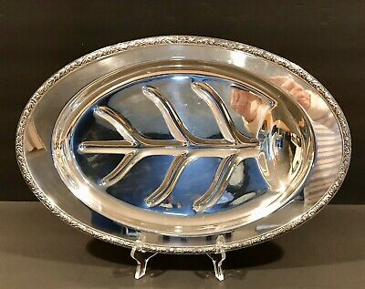 Vintage  FOOTED Meat Platter~Well & Tree SILVER PLATE ~Excellent~Silverplate