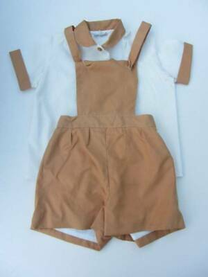 vintage little boys outfit age 3 brown cream dungarees & shirt 50's