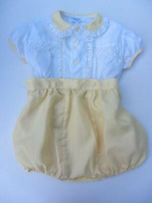 vintage girl/boy outfit age 2 white yellow 50's christening buster suit