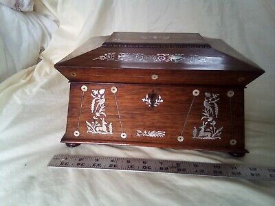 """Finely Inlaid 19th C. Rosewood Sewing Jewelry Box  c. 1840 tea caddy antique 12"""""""