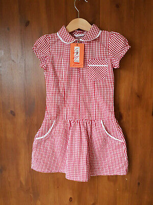 RRP £10 - JOHN LEWIS GIRLS SCHOOL DRESS Zip Front Red Gingham Check 4 Years NEW