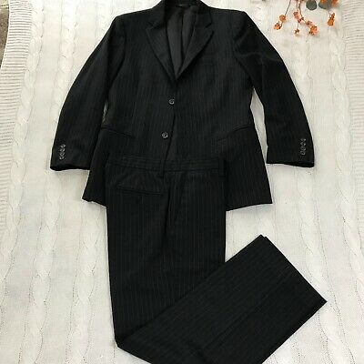 BENETTON Mens 2 Piece Suit Size 46 Dark Navy Striped