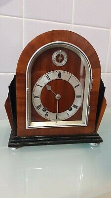 Miniature Art Deco Goldsmiths and Silversmiths Mantle Clock in Working Order