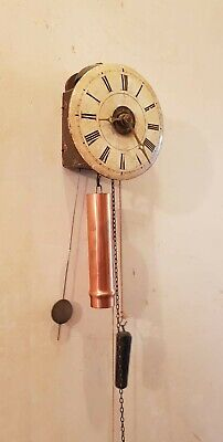Rare Small Antique German Black Forest Weight Driven Timepiece Wooden Wall Clock