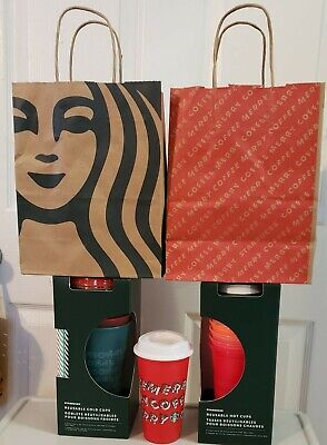 Starbucks 2019 Holiday Christmas Xmas Reusable HOT COLD RED CUP + bags