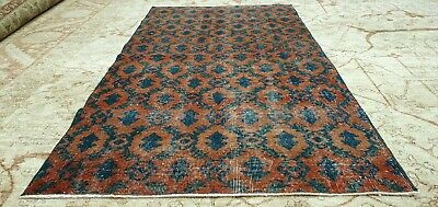 """Antique 1930-1940's Natural Dye Distressed Wool Pile Oushak Area Rug 3'7""""×6'9"""""""
