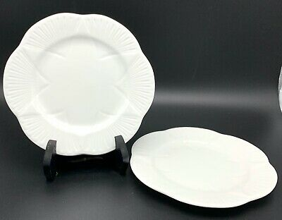 Shelley Bone China Bread and Butter Plates, Set of 2, Dainty White Pattern