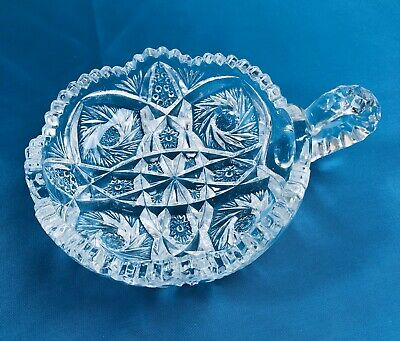 """American Brilliant Period Cut Glass Nappy Handle ABP Candy Dish No Chips Mint 8"""""""