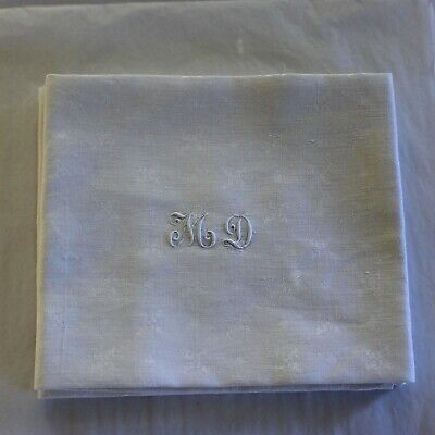 8 Antique French White Monogrammed Napkins M D