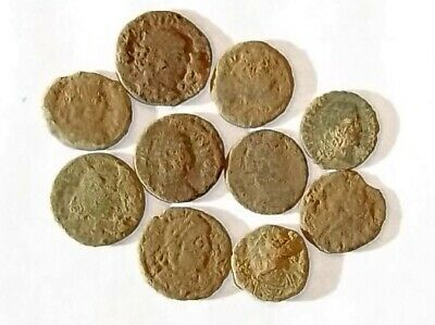 10 ANCIENT ROMAN COINS AE3 - Uncleaned and As Found! - Unique Lot 14244
