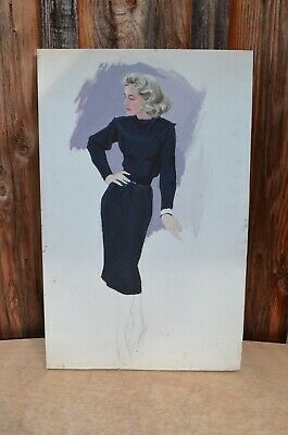 Vintage Woman In Dress Mid Century Painting Fashion Illustration Sketch 1960's