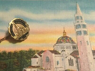 Vintage National Shrine of the Immaculate Conception souvenir Pin & postcard