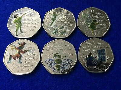 2019 Peter Pan 50p Collection-Peter Darlings Cpt Hook Crocodile Wendy Tinkerbell