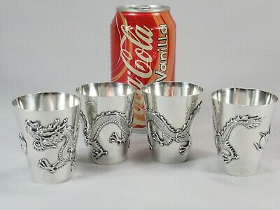 Best Quality Early 19th Century Chinese Pure Silver Dragon & Sun Cups SIGNED