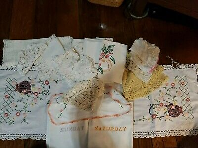 Vintage 20+ pc. Doilies Dresser Scarves Hankys Lot Hand Crochet Stained Damaged