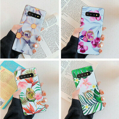 For Samsung Note 10 S10 S9 S8 A50 A70 A30 Flower Ring Holder IMD Soft Case Cover