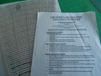 The Sewing Revolution 6/8 Extension Wedge Ruler Plus instruction Sheets