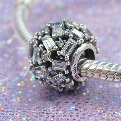 Authentic 100% 925 Sterling Silver Chisselled Elegance Clear CZ Crystal Charm