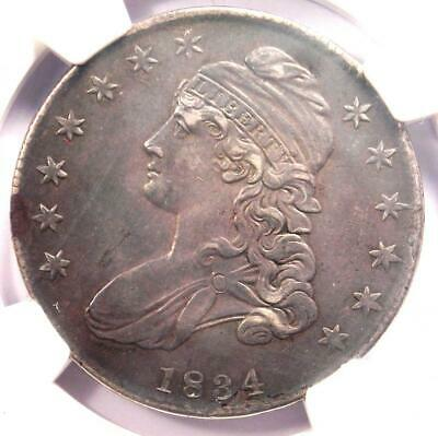 1834 Capped Bust Half Dollar 50C - NGC AU Details  - Rare Certified Coin!