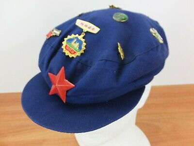 Vintage 1990s Chinese Communist Party Blue Mao Cap, with badges