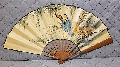Antique / Vintage Chinese Watercolour Paper Painting Fan