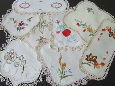 An Lovely Assortment of Eight Vintage Hand Embroidered Doilies Incl 2 Sandwich