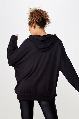 Cotton On Body Womens Long Line Spring Hoodie  In  Black