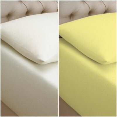 Luxury 100% Cotton Jersey Fitted Bed Sheet Double King Super King 4Ft Bed Cover