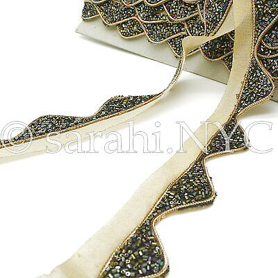 BLACK GOLD WAVE BEADED FABRIC TRIM trimming,EMBELLISHMENT,costume,pageant,ART