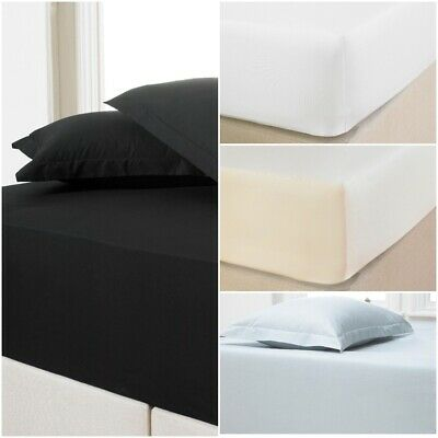 """Luxury Extra Deep Fitted Sheet 12""""/30CM 100% Percale Cotton Bed Sheets All Sizes"""