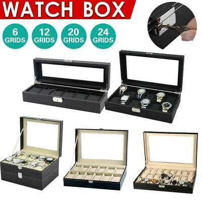 6-24 Grids Leather Watch Display Case Jewelry Collection Storage Holder Box AU