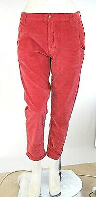Jeans Donna Pantaloni MET Made in Italy C729 Rosso Affusolato in Velluto Tg 29