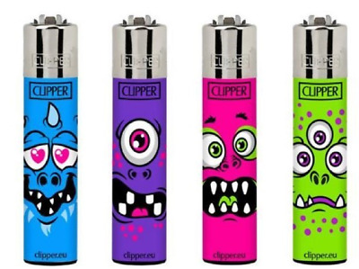 4 x Clipper Lighters MONSTER FACES Gas Lighter RARE Refillable SET NEW **
