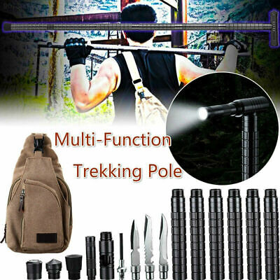 Multi-Functional  With Light Survival Tactical Stick Trekking Pole Stick Hiking