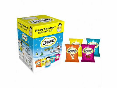 1 X  Dreamies Pet Food Treat Gift Box With Snacky Snowman 10 Packs Of 30 Treats